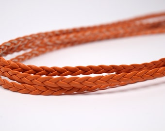 R008K Orange Braided 5mm PU Leather Straps Doll Sewing Craft Doll Clothes Belt Making Sewing Supply