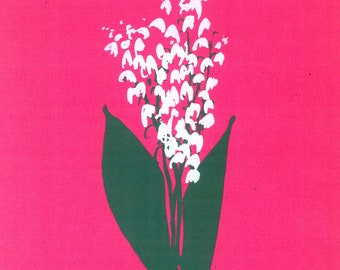 LILY of the VALLEY by Jane Staffier*Flower Art**Silkscreen*Flower Cards*Jane Staffier*Art prints**Pink*Greeting Cards*Lily of the Valley