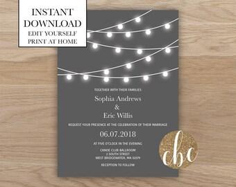 DIY Wedding Invitation/Instant Digital Download/String Lights - Gray