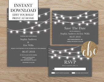 DIY Wedding Invitation Bundle/Instant Digital Download/String Lights - Gray
