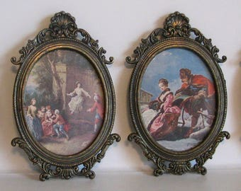 Vintage Frames Oval Regency Style Courting Lot of 4 Metal Italy Shell Small Boudoir