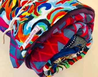 """African throw blanket - blanket - multi colored, patched (68""""x 95"""")- plum"""