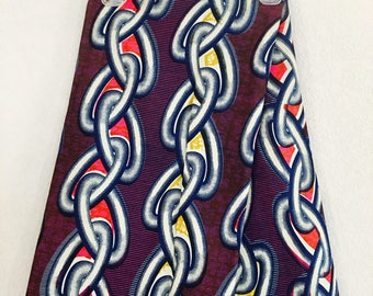 African Fabric - by the yard - Wax/Dutch - navy, pink, mustard, white - linked chain pattern
