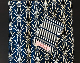 Men's Handkerchief- reversible - African - navy, cream - stripe and stars