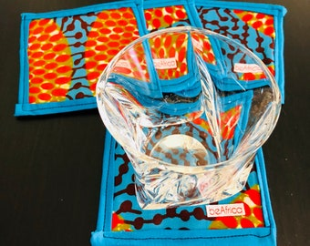 African coasters - Reversible - Set of four (4)- blue