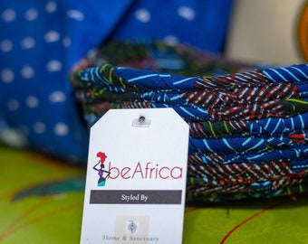 DRA Basket - woven fabric basket - African basket - blue/brown