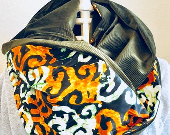Infinity Scarf - African - OBI Scarf - green, orange, white swirl