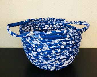 DRA Basket - fabric basket - aftican basket w/handles - blue/white