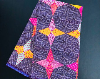 African Fabric - by the yard - Wax/Dutch purple, red, pink, yellow, and white - star pattern