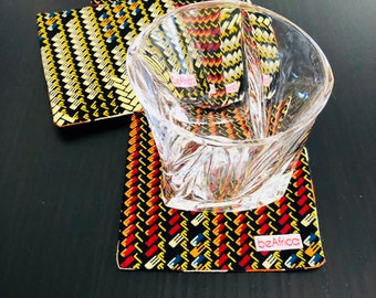 African coasters - Reversible - Set of four (4)- black pyramids