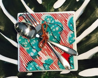 African Dinner Napkins - Reversible Cloth Napkins - Set of two (2) - white, red, orange, turquoise