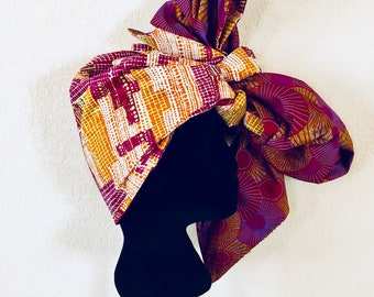 Head Wrap - African - Reversible - Kop Wrap - Engergie Bars (Engery Burst)