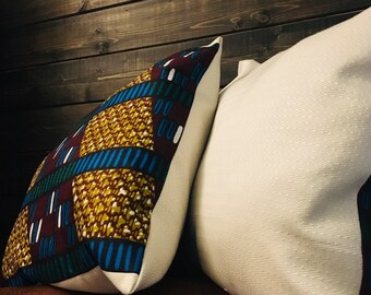 African throw pillow set (Two) - decorative pillows - 15X15- Genetiese Kode (Genetic Code)