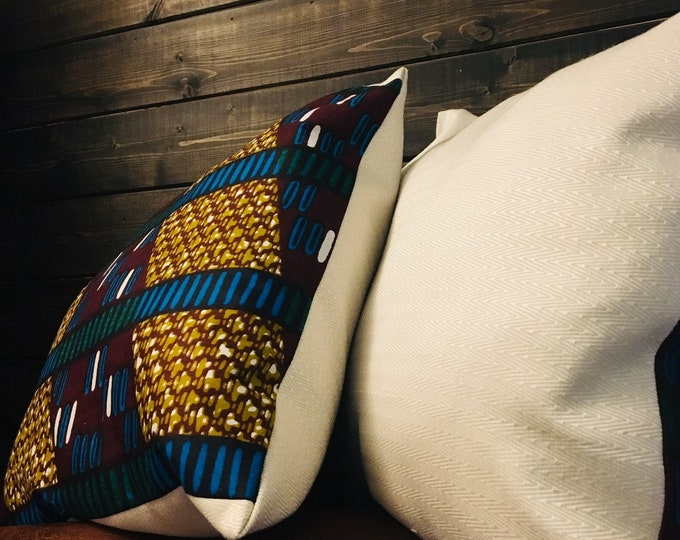Featured listing image: African throw pillow set (Two) - decorative pillows - 15X15- Genetiese Kode (Genetic Code)