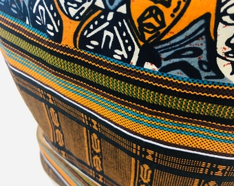 DRA Basket - flex fabric basket - African basket - Akente black/ faces