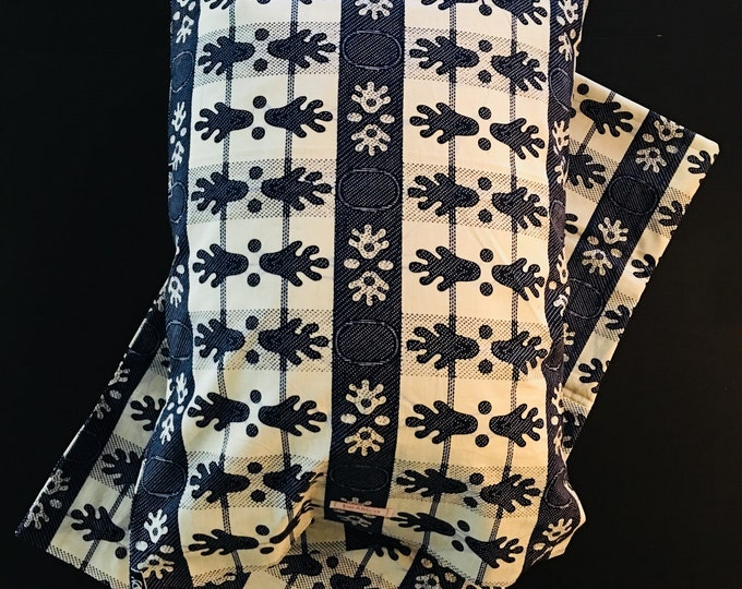 Featured listing image: African pillow shams (2) - two standard pillow cases - navy and white