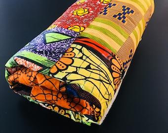 "African throw blanket - multi colored  (48 x 62"")- light grey fleece"