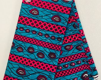 African Fabric - by the yard - Wax/Dutch - Turquoise, magenta, white, purple - Eyes and waves pattern