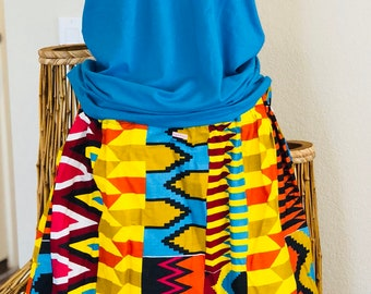 African Romp Skirt - A Line - Elastic waist - multi colored - geometric 2 - with pockets