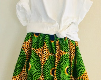 African Romp Skirt - A Line - Elastic waist - green, yellow, navy, white - circles - with pockets