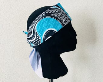 Head Band - African - Band - Aqua swirl