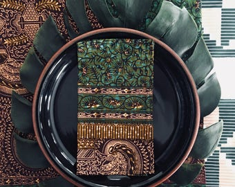 African Reversible table runner and eight (8) cocktail napkins -