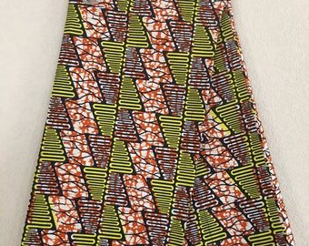 African Fabric - by the yard - Wax/Dutch - navy, orange, yellow, white - zig zag/ triangle pattern
