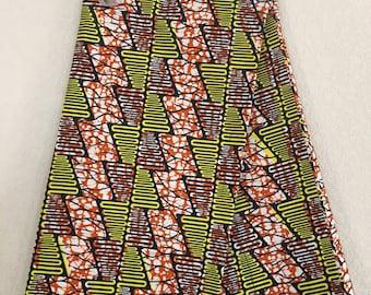 African Fabric - by the yard - Wax/Dutch - navy, orange, yellow, white - zig zag/ triangle pattern