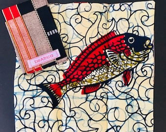 Men's Handkerchief- reversible - African -black, red, cream - kente and fish