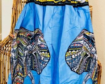 African Romp Skirt - A Line - Elastic waist - blue - elephant - no pockets