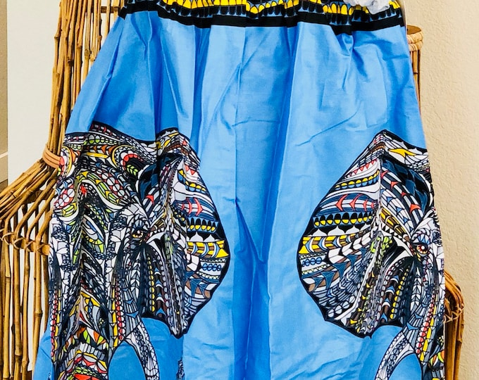 Featured listing image: African Romp Skirt - A Line - Elastic waist - blue - elephant - no pockets
