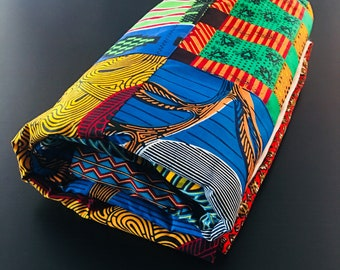 """African throw blanket - multi colored, patched (50x 64"""")- cream"""