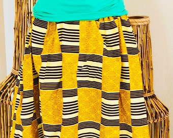 African Romp Skirt - A Line - Elastic waist - yellow/brown - kente - with pockets