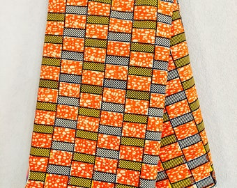 African Fabric - by the yard - Wax/Dutch - navy, orange, yellow, white - rectangular pattern