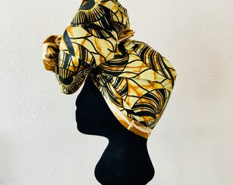 Head Wrap - African - Reversible - Kop Wrap - geaarde ma (earthed mother)