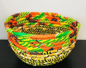 DRA Basket - woven fabric basket - African basket - green/orange/yellow/blue