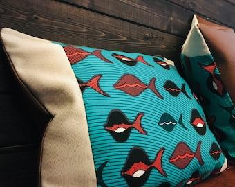 African throw pillow set (Two) - decorative pillows - 14X18- Vis (Fish)