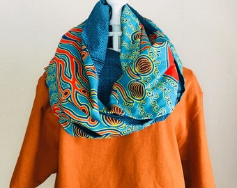 Infinity Scarf - African - OBI Scarf - aqua paradise (fish pattern on reverse available only)