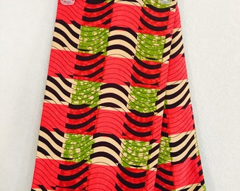 African Fabric - by the yard - Wax/Dutch - Light tan, brien, pink, green - square wave pattern; two 6yrd peices.