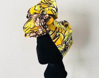 Head Wrap - African - Reversible - Kop Wrap - yellow lilies