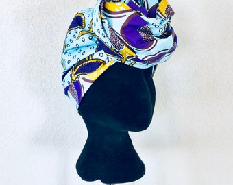 Head Wrap - African - Reversible - Kop Wrap - Bloms and Neute (flowers and nuts)