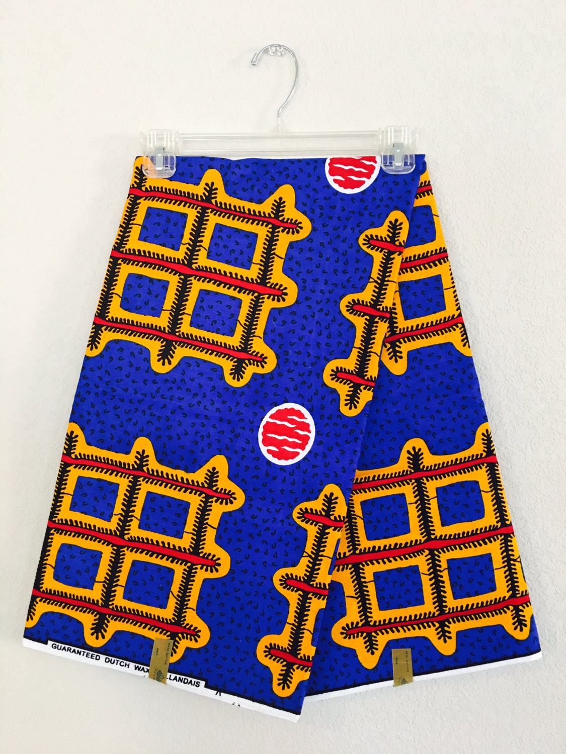 African Fabric By The Yard Wax Dutch Cobalt Blue Yellow Red