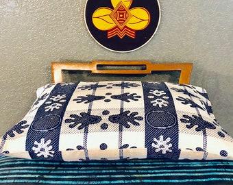 African throw pillow - decorative pillow - 12X18 - Handdruk (Hand Print)