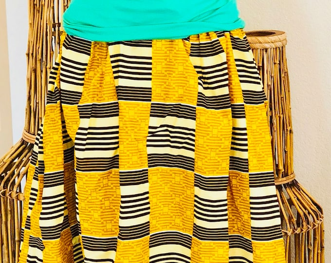 Featured listing image: African Romp Skirt - A Line - Elastic waist - yellow/brown - kente - with pockets