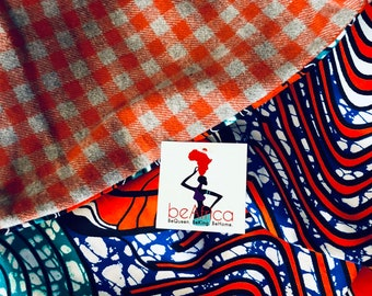 Infinity Scarf - African - OBI Scarf - orange, blue, turquoise, white, gray swirl
