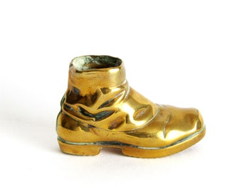 Brass Shoe Container 70s Vintage Small Brass Shoe Figurine Retro Wee Brass Shoe Toothpick Holder Retro Little Brass Shoe Collectible