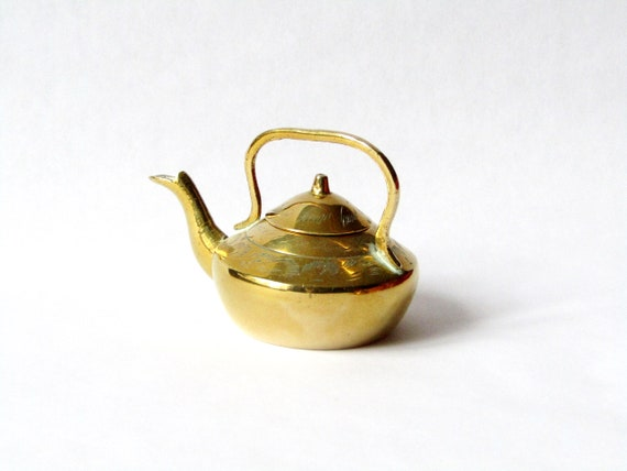 Tiny Mini Small Brass Teapot with Handle and a Little Etching Height 2 12