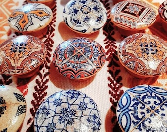 Handles with wood button with Cabinet-tiles handmade eclectic Boho Moroccan made