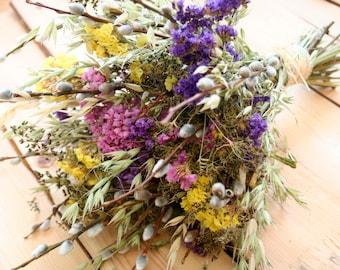WILD FLOWERS -Pussywillow Natural dried Yellow flower-green grass-Limonium-Flower arrangement-Rustic WEDDING Boho-Rustic Natural decoration