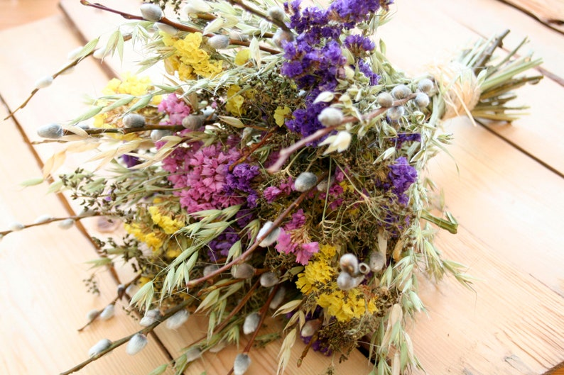 WILD FLOWERS Pussywillow Natural dried Yellow flower-green image 0